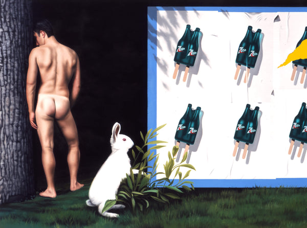 Surrealist painting of naked man viewed from behind next to a tree trunk with a white rabbit eating grass in the foreground and a billboard featuring 6 double 7-Up icecreams in two rows of three