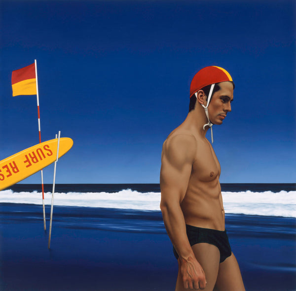 Painting of a man in speedos side on wearing a life savers cap on beach at dusk with a yellow and red flag to the left with a surf rescue buoy leaning on it.