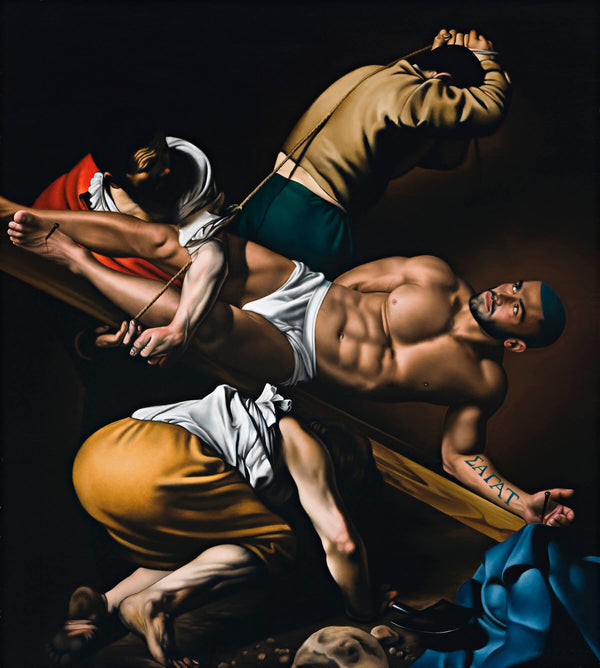 Portrait of Francois Sagat being raised on a crucifix in carravagio painting scene