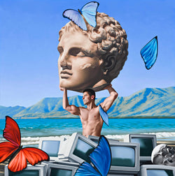 Surrealist painting of a shirtless man holding giant marble sculpture head at beach with a pile of old computer screens and a skull.  Floating in the sky is orange and blue butterflies