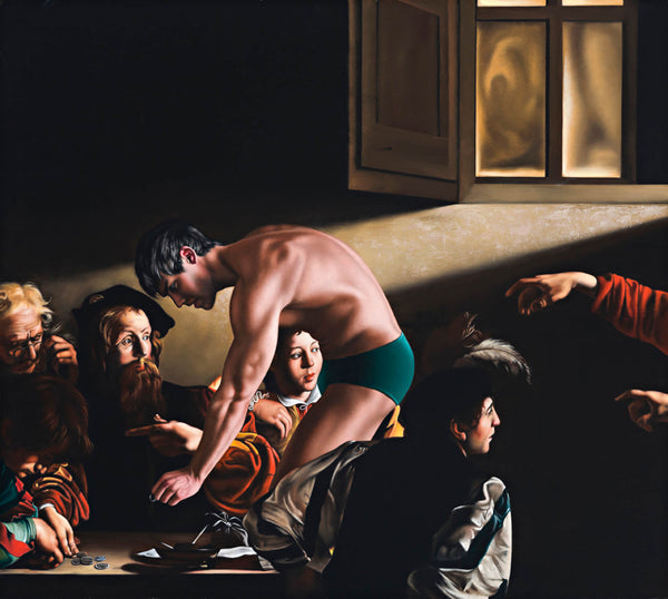 Portrait of porn star Kris Evans in green trunks incorporated into Caravaggio painting featurning men counting money in a dimly lit room