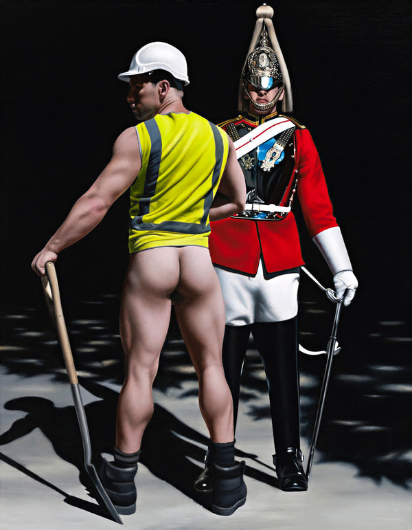 Ross Watson painting of bare buttocked workman wearing hi-vis vest adn hard hat with shovel standing in front of queen's life guard in ceremonial uniform