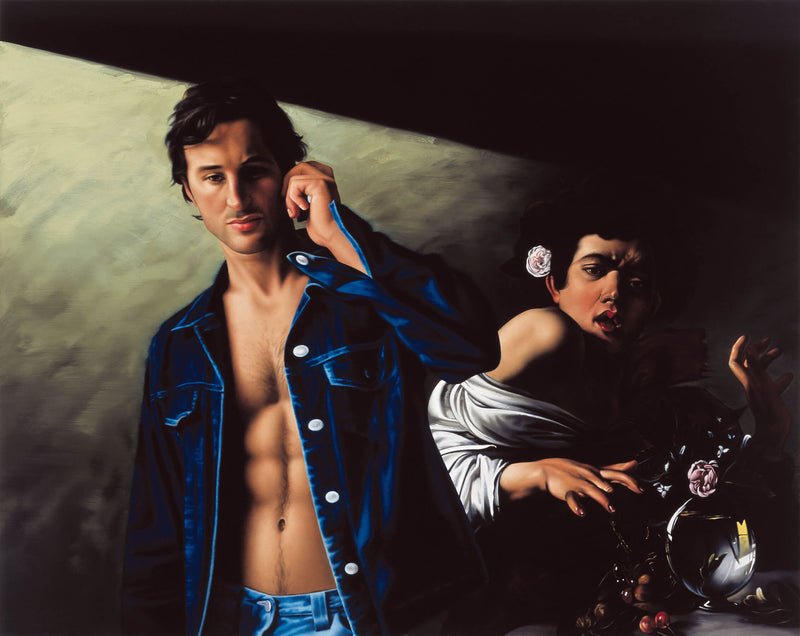 Ross Watson painting of man in open denim jacket on phone with Caravaggio's painting of boy bitten by lizard in background
