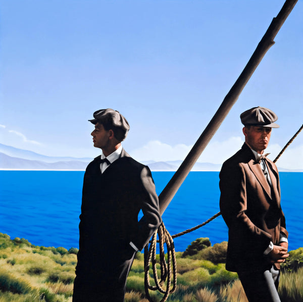 Ross Watson painting of two men in suits from WW1 period standing on a headland before a wooden frame with rope
