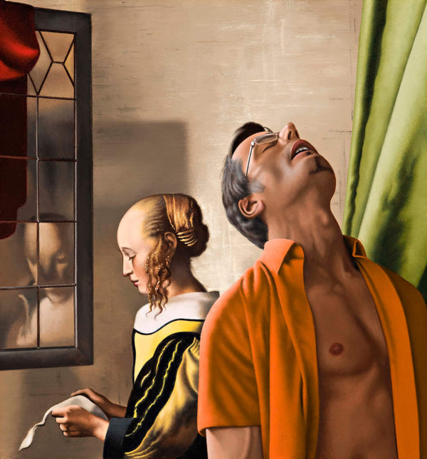 Ross Watson painting of man in open orange shirt looking up in front of Vermeer's painting of lady reading letter