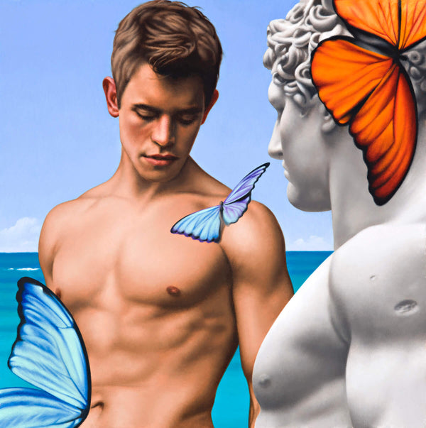 Surrealist painting of naked mans torso and ancient marble statue with orange and blue butterflies
