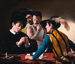 Portrait of actor Luke Evans incorporated into Caravaggio painting of the card sharps featuring men cheating at cards to the left a black clad young man to the right a man in a yellow tunic holding cards behind his back and in the back ground a rogue man looking over the players shoulder