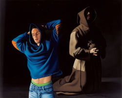 Ross Watson painting of young man in blue hoodie stretching with Zurbaran's kneeling monk