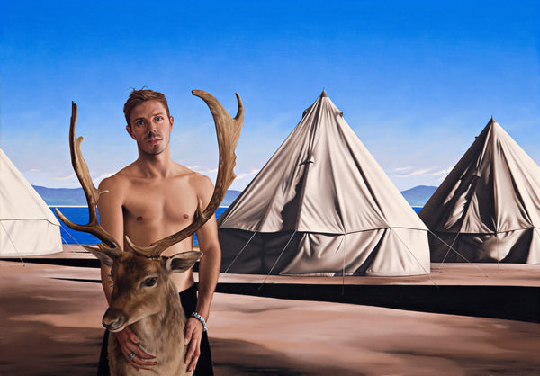 Ross Watson painting of shirtless Jake Shears holding a taxidermied Deers head in front of three canvas tents