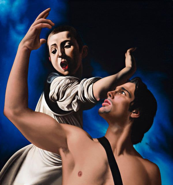 Ross Watson painting of shirtless man with hand raised incorporated into Caravaggio painting of youth with open mouth