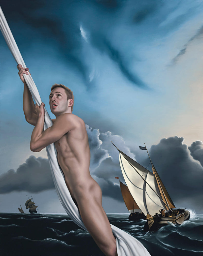 Portrait of naked Matthew Mitcham swinging from sheet in stormy setting of van de velde painting