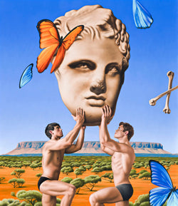 Surrealist painting of two shirtless men holding giant marble sculpture head in front of outback australian desert view of mount connor with butterflies in the sky and crossed bones