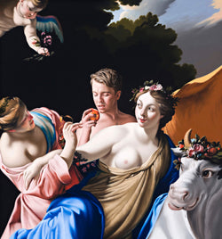 Contemporary verision of classicle painting by Vouet featuring a contemporary figure eating a peach with a a bare breasted maiden and a cow licking it's lips