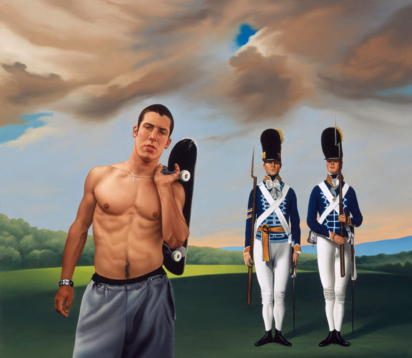 Ross Watson painting of shirtless man holding skateboard with Stubbs portrait of two soldiers