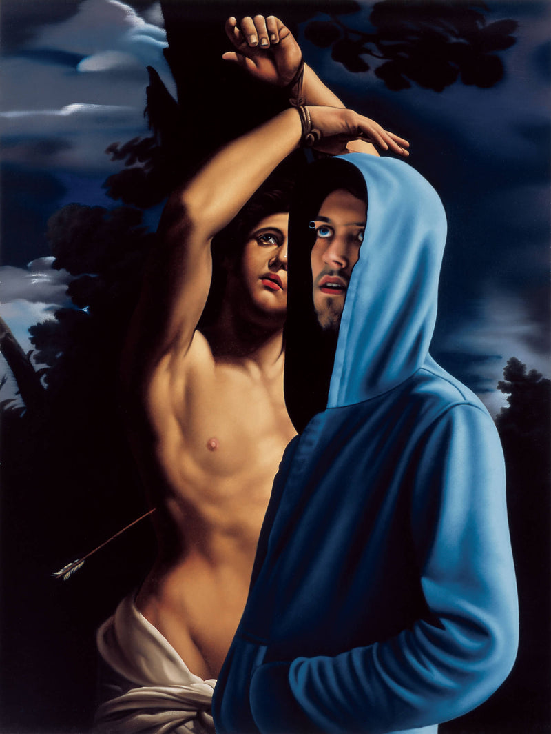 Ross Watson painting of young man in blue hoodie in front of Reni's St. Sebastian