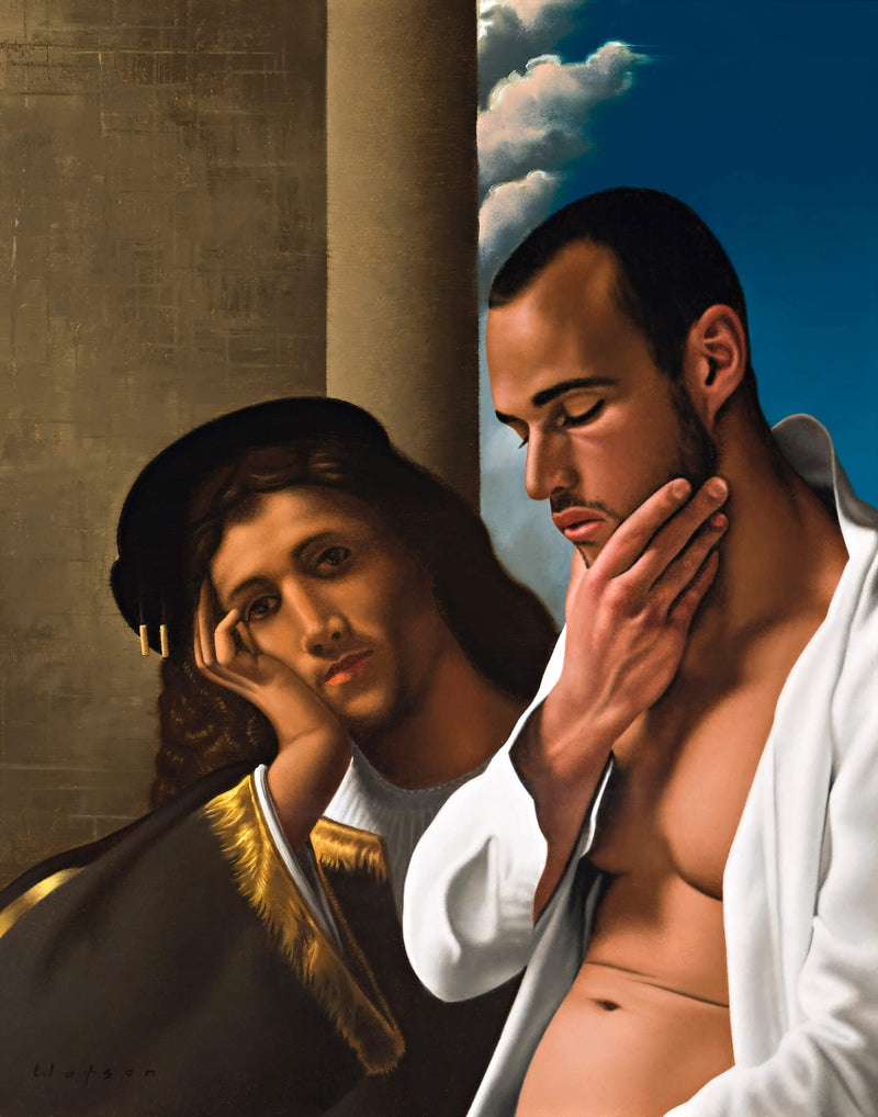 Ross Watson painting of man in open white shirt stroking his chin incorporated into Georgione painting of man resting his head in hand