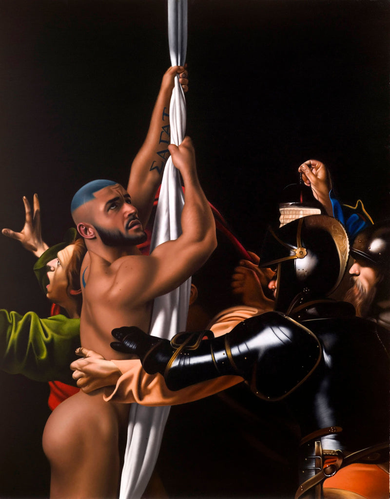 Portrait of porn star Francois Sagat naked hanging from sheet incorporated into Caravaggio painting of soldiers