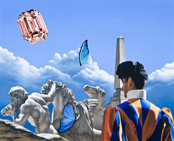 Surrealist painting of swiss guard in front of marble statue of greek god and horses with butterfly wings and a pink diamond in the sky