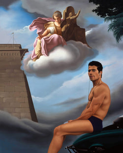 Ross Watson painting of man in underwear in front of classical painting of angels by constanzi