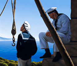 Ross Watson painting of two sailors one sitting and one standing on ocean headland next to pully on ropes
