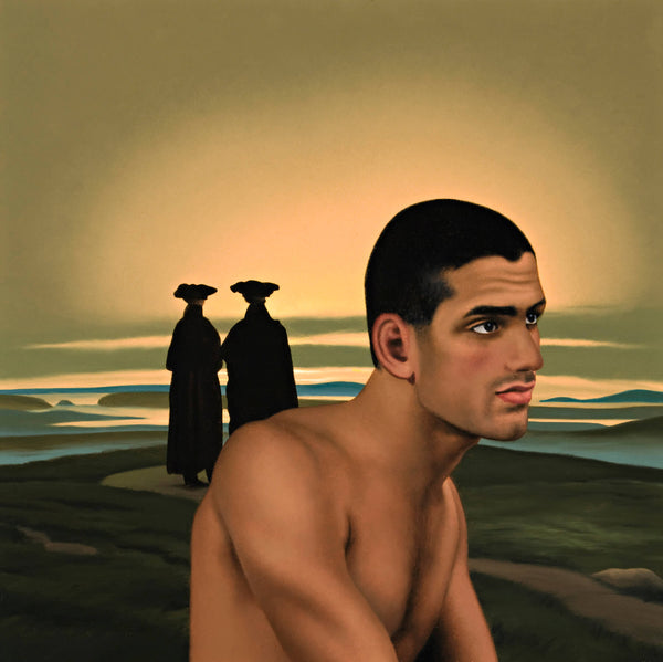 Ross Watson painting of shirtless manin profile in classical painting by Friedrich of two monks walking into sunset