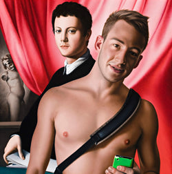 Portrait of shirtless Matthew Mitcham holding green phone with bag shoulder strap in front of Bronzino portrait of a young man in front of pink drapes