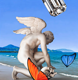 Surrealist painting of a winged angel sculpture with a skull on the beach with a diamond in the sky and parts of butterfly wings