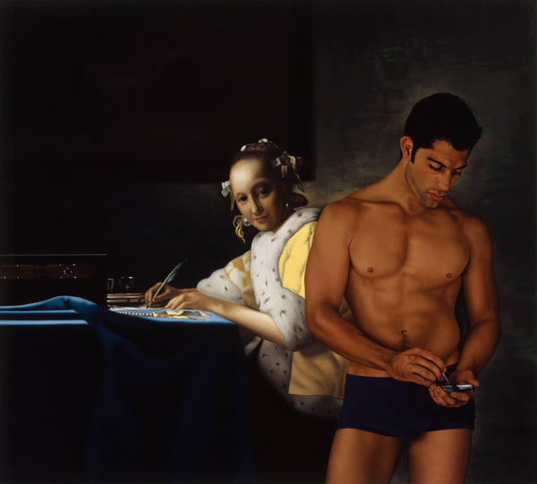 Ross Watson painting of man in underwear using phone incorporated into vermeer portrait of lady writing letter