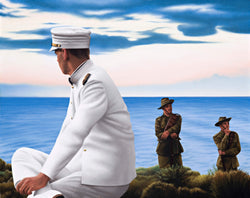 Ross Watson painting of Naval officer sitting on ocean headland with two WW1 diggers in background