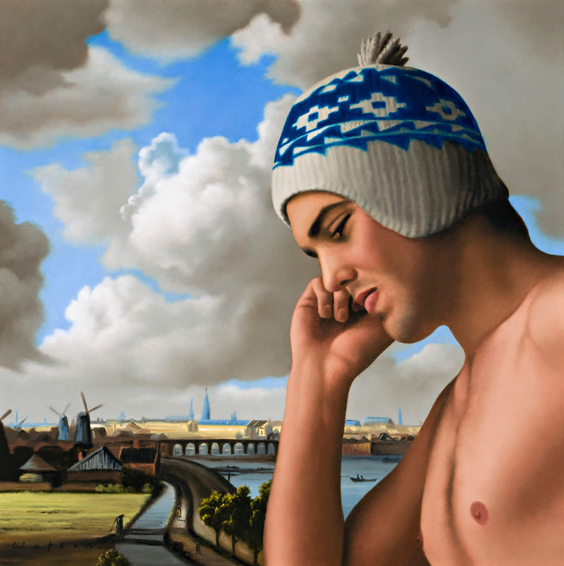 Ross Watson painting of man holding phone to ear in knitted hat in front of dutch waterway scene of van Ruisdael