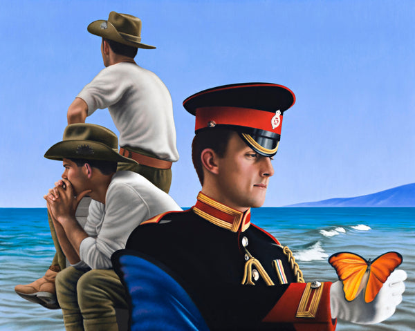 Painting of two seated World War 1 soldiers at the beach, with a queens guard Lance Corporal James Wharton holding a butterfly