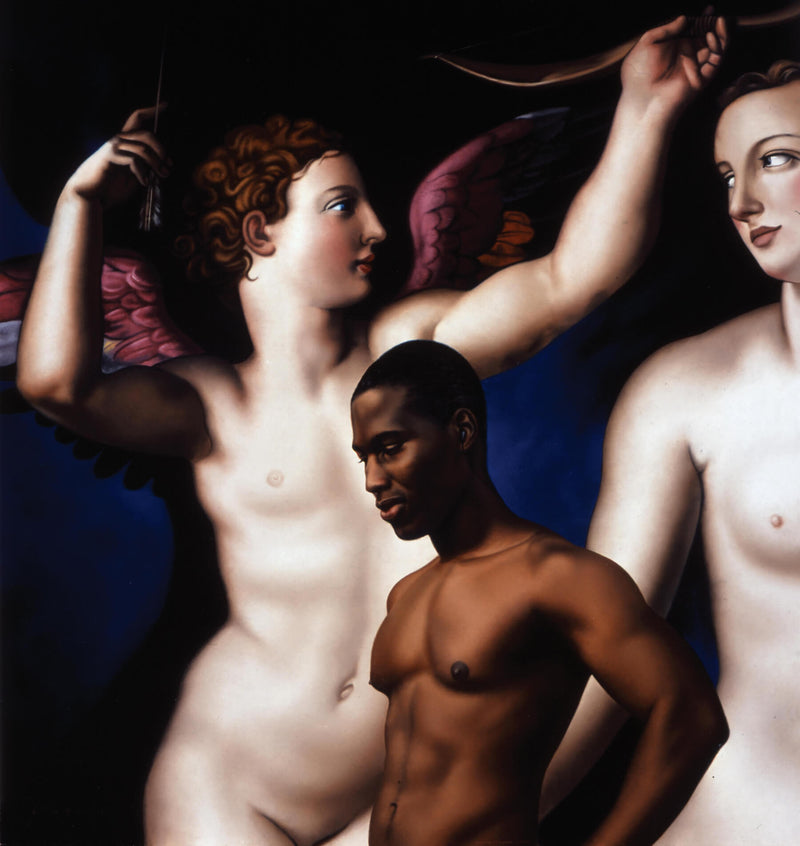 Ross Watson painting of a shirtless black man in front of Bronzino painting of naked angels
