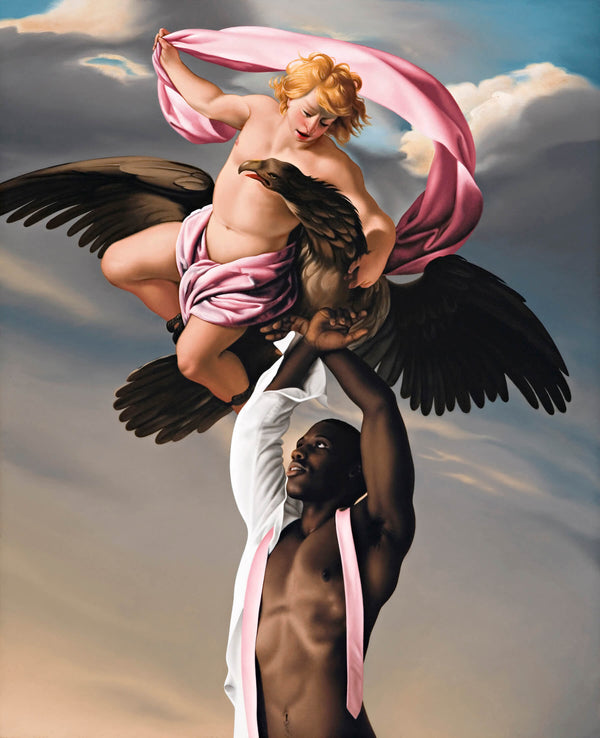 Ross Watson painting of black man partially dressed with pink tie with arms raised up to Le Sueuers painting of Ganimead with eagle