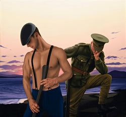 Ross Watson Painting of shirtless man with braces holding axe wearing cap with WW1 soldier behind in evening sky