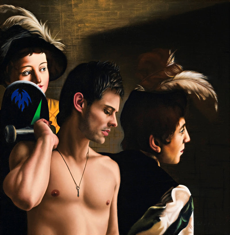 Ross Watson painting of shirtless man holding skateboard with reference to Caravaggio's men with feathered caps