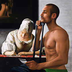 Painting of shirtless man leaning on wheely suitcase holding boarding pass incorporated into Vermeer painting of lady writing a letter wearing a white ruffled dress and lace head covering