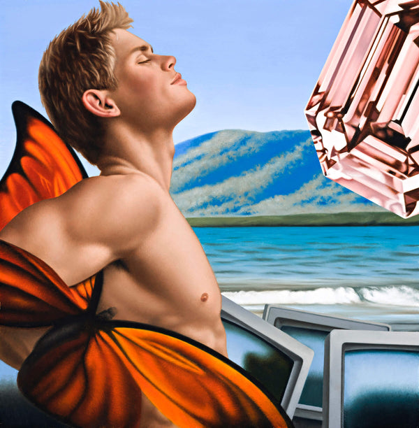 Surrealist paiting of shirtless porn actor Dolph Lambert with face upturned and eyes closed at a beach with television screens and an oversized pink diamond