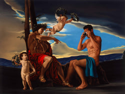 Ross Watson painting of naked man with blue fabric draped on lap using camera incorporated into Poussin painting of god and angelss