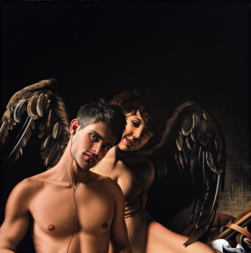 Ross Watson painting of shirtless man wearing headphones in front of Caravaggio's winged cupid