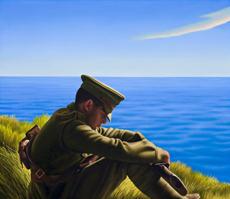 Ross Watson painting of WW1 soldier sitting on grass with ocean in the background
