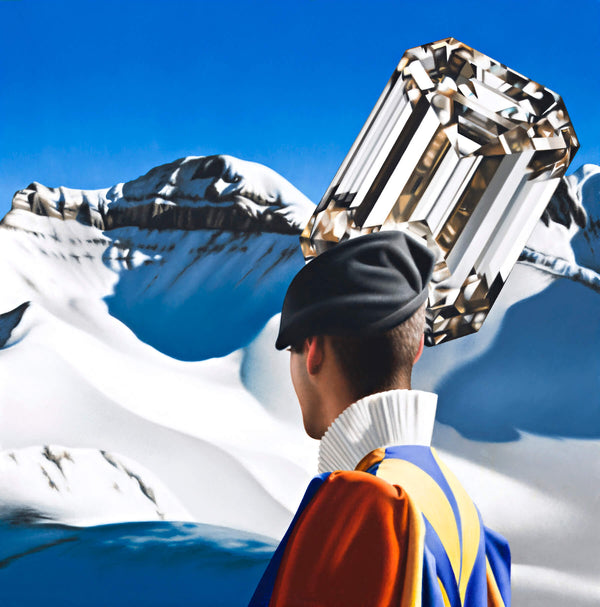 Surrealist painting of swiss guard in snow capped mountain setting with oversized diamond in the sky