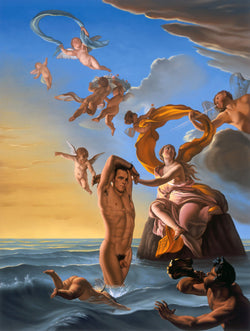 Ross Watson painting of naked Ian Roberts emerging from water with angles and Poseidon by Coypel