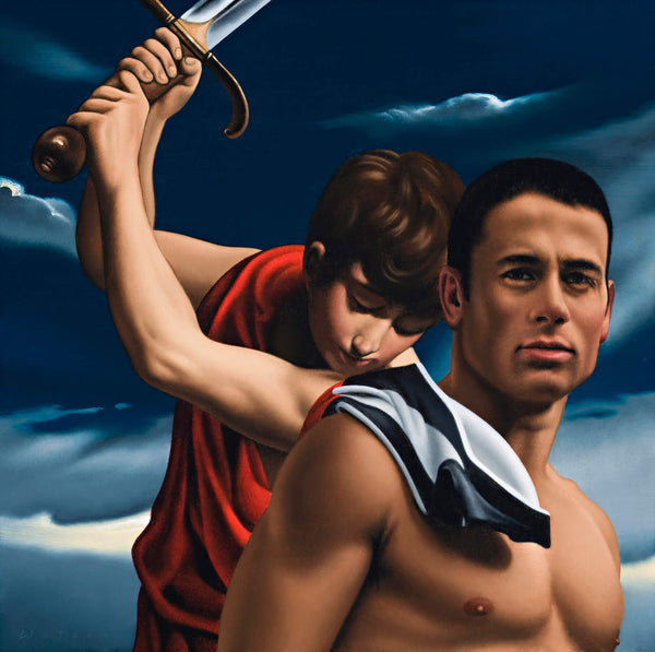 Ross Watson painting of Paul Licuria shirtless with collingwood jumper over shoulder referencing Reni's youth with sword