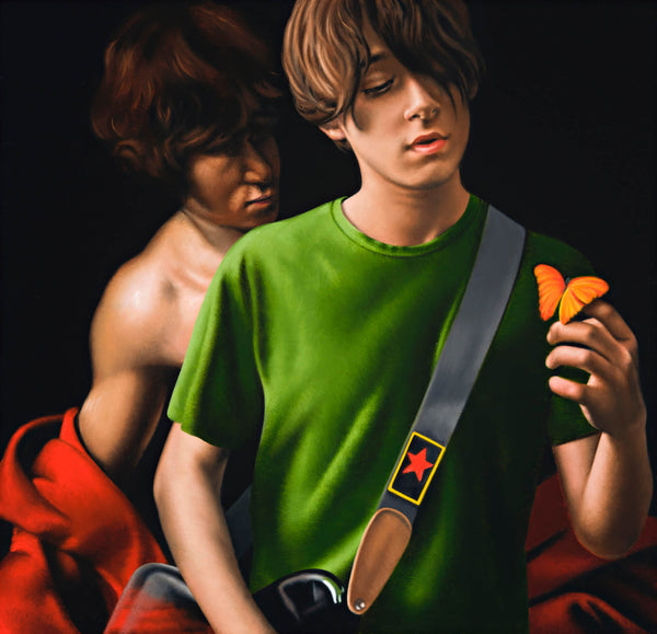 Painting of a young man in green t-shirt with guitar holding an orange butterfly with a disrobed boy from a caravaggio painting in the background