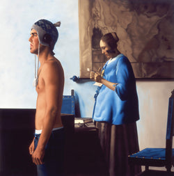 Ross Watson painting of shirtless man wearing knitted hat in front of Vermeer painting of lady reading letter