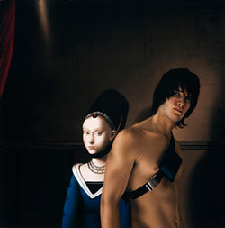 Ross Watson painting of shirtless man wearing a shoulder bag in front of portrait of noble woman by Christus