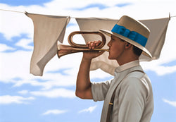Ross Watson painting of man in white shirt, braces adn hat with blue ribbon, playing bugle in front of washing hanging on line