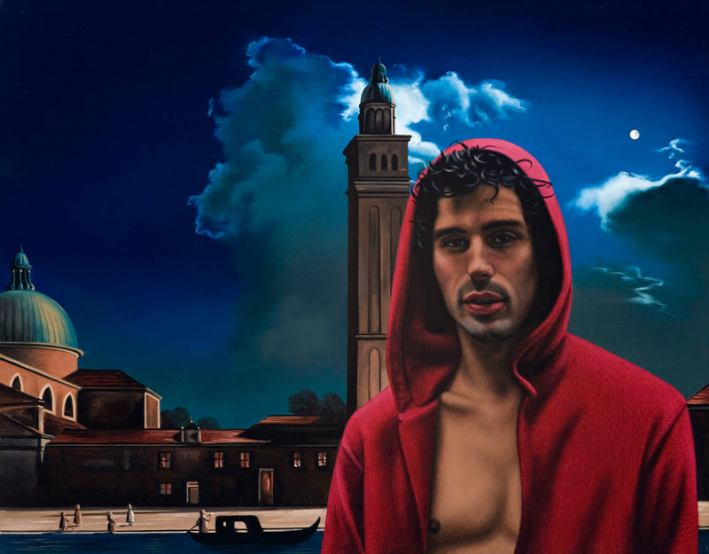 Ross Watson painting of shirtless man in red hoody with Canaletto painting of Venice in background