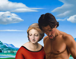 Ross Watson painting of fit shirtless man with long hair adjacent to Madonna painted by Raphael