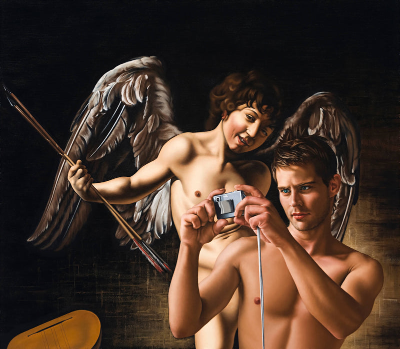 Ross Watson painting of shirtless man holding digital camera incorporated into Caravaggio's winged angel with musical instruments